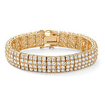 20.00 TCW Round Cubic Zirconia 14k Yellow Gold-Plated Multi-Row Station Tennis Bracelet 7 1/2