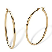 10k Yellow Gold Hoop Earrings 40mm Diameter