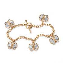 18k Yellow Gold-Plated Filigree Butterfly Charm Bracelet 7 1/2""