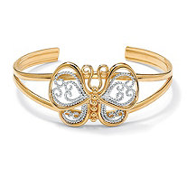 18k Yellow Gold-Plated Filigree Butterfly Cuff Bracelet 6 1/2""