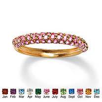 Round Simulated Birthstone 18k Yellow Gold-Plated Stackable Cluster Ring