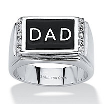 "Men's Round Crystal Stainless Steel Black Enamel Finish ""Dad"" Ring"