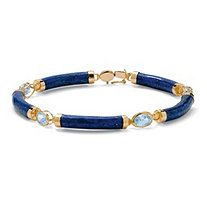 4.40 TCW Genuine Lapis and Blue Topaz Link Bracelet in Golden Finish over Sterling Silver