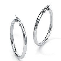 "Stainless Steel Tubular Hoop Earrings 2 3/4"" Diameter"