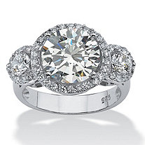 4.89 TCW Round Cubic Zirconia Platinum over Sterling Silver Bridal Anniversary Ring