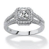 1.63 TCW Princess-Cut Cubic Zirconia Platinum over Sterling Silver Engagement Anniversary Ring