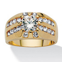 Men's 2.95 TCW Round Cubic Zirconia Yellow Gold Tone Ring