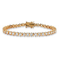5.00 TCW Round Cubic Zirconia 14k Yellow Gold-Plated Tennis Bracelet 7 1/4""