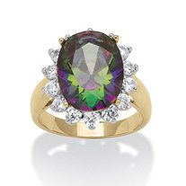 10.72 TCW Oval Cut Cubic Zirconia 14k Gold-Plated Mystic-Colored Cocktail Ring