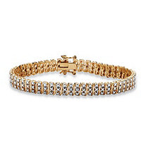 Diamond Accented S-Link Tennis Bracelet 14k Yellow Gold-Plated 8""