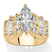 3.62 TCW Marquise-Cut Cubic Zirconia 14k Yellow Gold-Plated Ring
