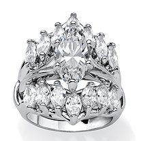 5.98 TCW Marquise-Cut Cubic Zirconia Silvertone Engagment Engagement Wedding Ring Set