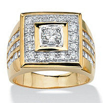 Men's 2.18 TCW Round Cubic Zirconia 14k Yellow Gold-Plated Square-Shaped Ring