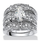 3.05 TCW Marquise-Cut Cubic Zirconia Silvertone Metal Bridal Engagement Ring Wedding Band Set