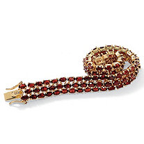 25.00 TCW Oval Cut Genuine Garnet 14k Yellow Gold-Plated Triple-Row Tennis Bracelet 7 1/4""