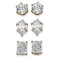 19.56 TCW Multi-Shaped Cubic Zirconia 14k Yellow Gold-Plated Stud Earrings 3-Pairs Set