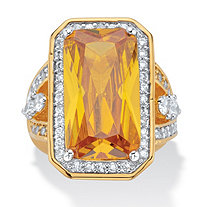 45.52 TCW Emerald-Cut Canary Yellow Cubic Zirconia 14k Yellow Gold-Plated Cocktail Ring Sizes 7-12