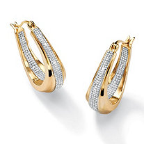 Diamond Accent 14k Yellow Gold-Plated Oval-Shaped Inside-Out Hoop Earrings