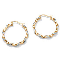 "Diamond Accent 14k Yellow Gold-Plated Hoop Earrings 1 1/3"" Diameter"