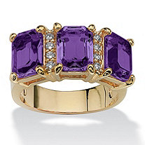14k Gold-Plated Emerald-Cut Birthstone and Round DiamonUltra™ Cubic Zirconia Ring