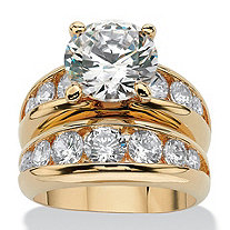 6.09 TCW Round Cubic Zirconia 14k Yellow Gold-Plated Bridal Engagement Ring Wedding Band Set