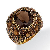 13.36 TCW Oval-Cut Genuine Smoky Quartz Round Smoky-Quartz-Color Crystal 14k Yellow Gold-Plated Cocktail Ring