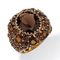 13.36 TCW Oval-Cut Genuine Smoky Quartz Smoky-Quartz-Color Crystal 14k Yellow Gold-Plated Ring