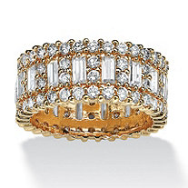 4.80 TCW Emerald-Cut Cubic Zirconia 14k Yellow Gold-Plated Eternity Ring