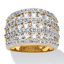 2.86 TCW Round Cubic Zirconia 14k Gold-Plated Multi-Row Open Dome Ring