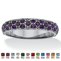 Round Simulated Birthstone Black Rhodium-Plated Eternity Band
