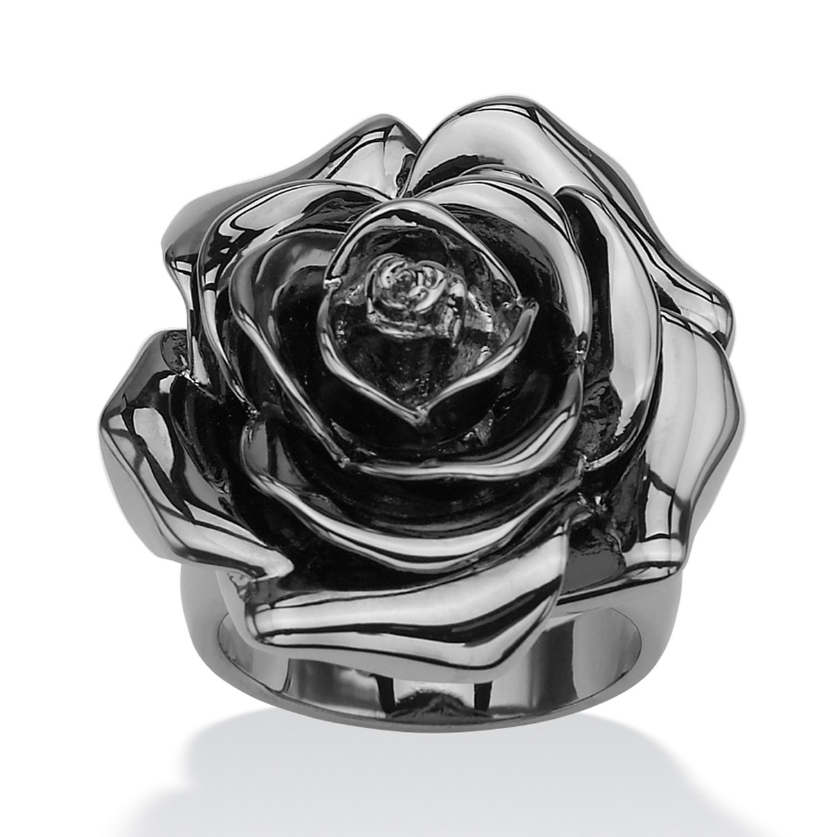 palmbeach jewelry black rhodium plated rose shaped flower