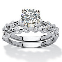 2.52 TCW Round Cubic Zirconia Platinum over Sterling Silver Bridal Engagement Set Ring