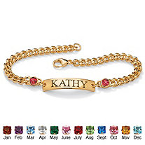 Round Simulated Birthstone 14k Yellow Gold-Plated Personalized I.D. Curb-Link Name Bracelet 7 1/4