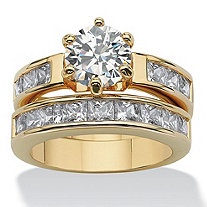 4.40 TCW Round Cubic Zirconia 14k Yellow Gold-Plated Bridal Engagement Ring Wedding Band Set