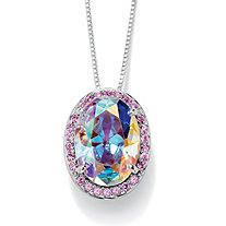 13.40 TCW Oval-Cut Aurora Borealis Cubic Zirconia Silvertone Drop Pendant and Chain 18