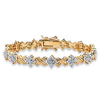 "1/2 TCW Round Diamond 14k Yellow Gold-Plated ""X & O"" Tennis Bracelet 7 1/2"""