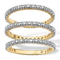 Diamond Accent 14k Yellow Gold-Plated 3-Piece Stack Ring Eternity Band Set