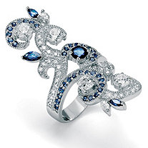 .85 TCW Round Cubic Zirconia and Blue Crystal Swirl Ring in Silvertone