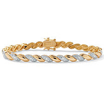 1/10 TCW Diamond Accent 18k Gold-Plated Wave-Link Bracelet 7 1/4""