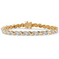 1/10 TCW Diamond Accent 18k Gold-Plated Wave-Link Bracelet 7 1/4