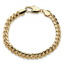 """Men's Curb-Link Bracelet in Yellow Gold Tone 10"""""""