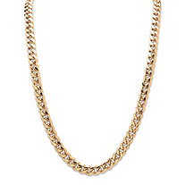 Men's Curb Link Chain in Yellow Gold Tone 24
