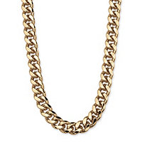 Men's Curb Link Chain in Yellow Gold Tone 30""