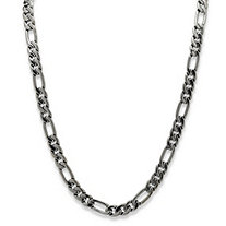 Men's Black Rhodium-Plated Figaro-Link 10.5 mm Necklace Chain 30""