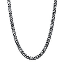 Men's Black Rhodium-Plated Curb-Link 10.5 mm Necklace Chain 24