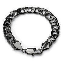 Men's Black Rhodium-Plated Curb-Link Chain Bracelet 9""