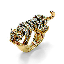 Black and White Crystal Tiger Stretch Ring in Yellow Gold Tone