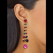 14k Gold-Plated Multi-Colored Crystal Linear Drop Pierced Earrings