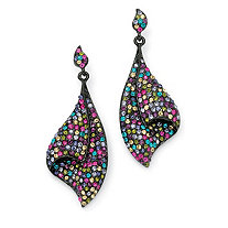 Multi-Color Crystal Black Rhodium-Plated Fan Drop Earrings