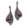 Multi-Color Crystal Black Ruthenium-Plated Fan Drop Earrings